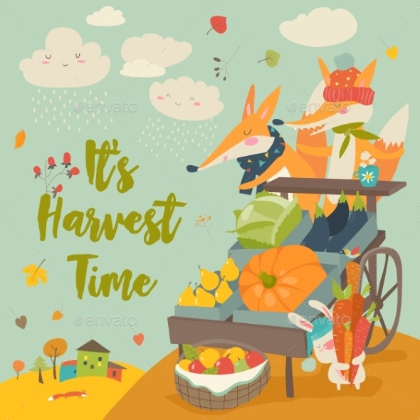 Foxes with Wheelbarrow and Fruits - Animals Characters