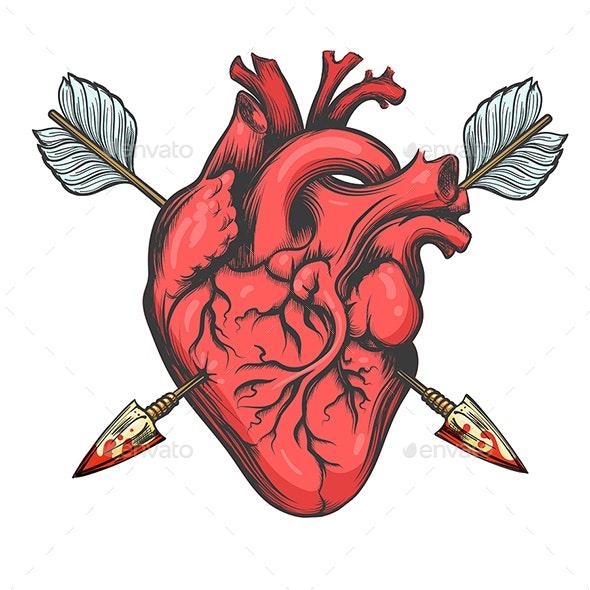 Heart Pierced by Two Arrows - Tattoos Vectors