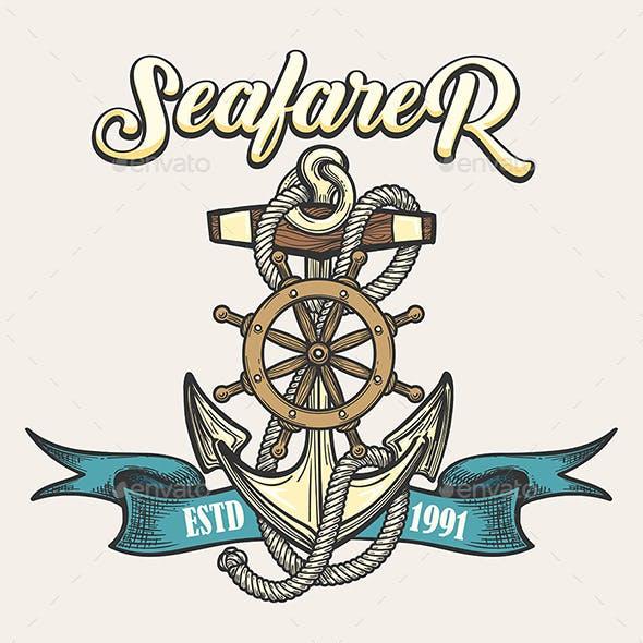 Seafarer Emblem in Tattoo Style
