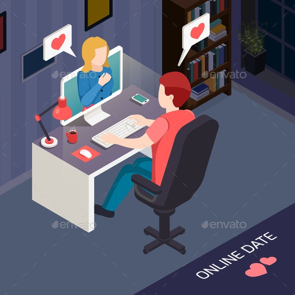 Romantic Date Online Isometric Composition - People Characters