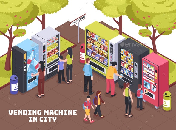 Vending Machines Isometric Composition - Food Objects