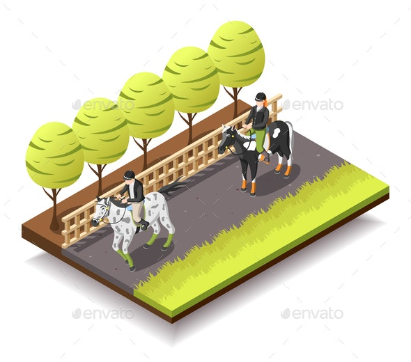 Horse Riding Isometric Composition - Sports/Activity Conceptual