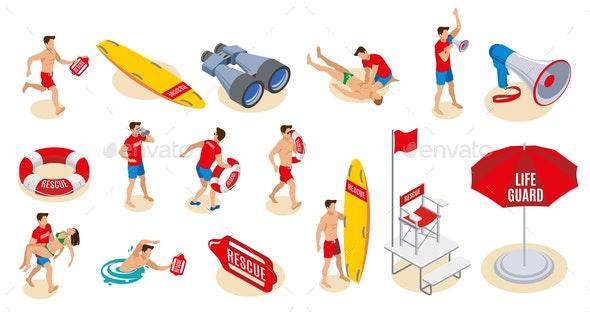 Beach Lifeguards Isometric Icons - Miscellaneous Vectors