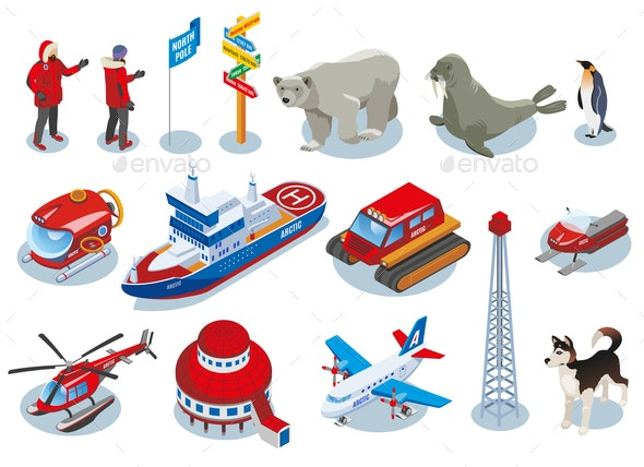 Arctic Research Isometric Icons - People Characters