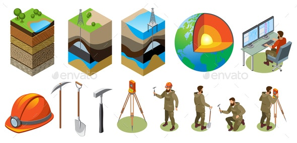 Earth Exploration Isometric Icons - Miscellaneous Conceptual