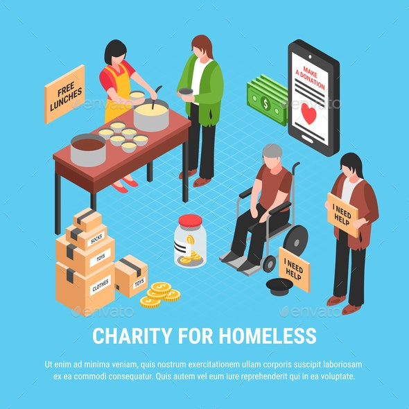 Charity for Homeless Isometric Poster - Miscellaneous Conceptual