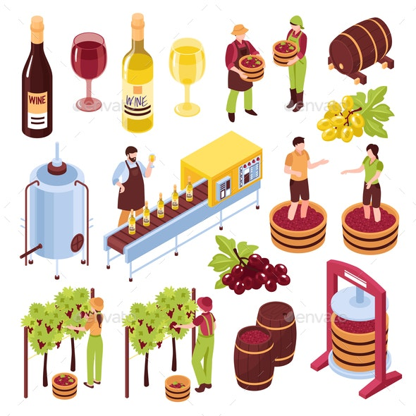 Winery Isometric Set - Food Objects