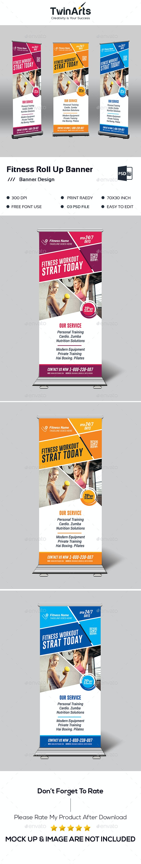Fitness/Gym Roll up Banner - Signage Print Templates