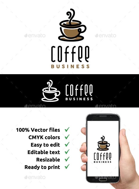 Line Art Coffee Logo Design - Restaurant Logo Templates