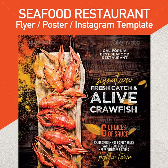 Crawfish Template for Flyer or Poster