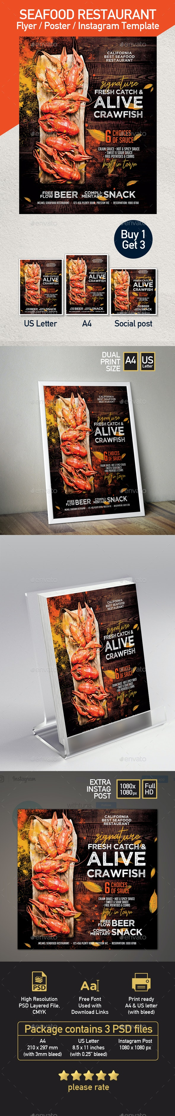 Crawfish Template for Flyer or Poster - Restaurant Flyers