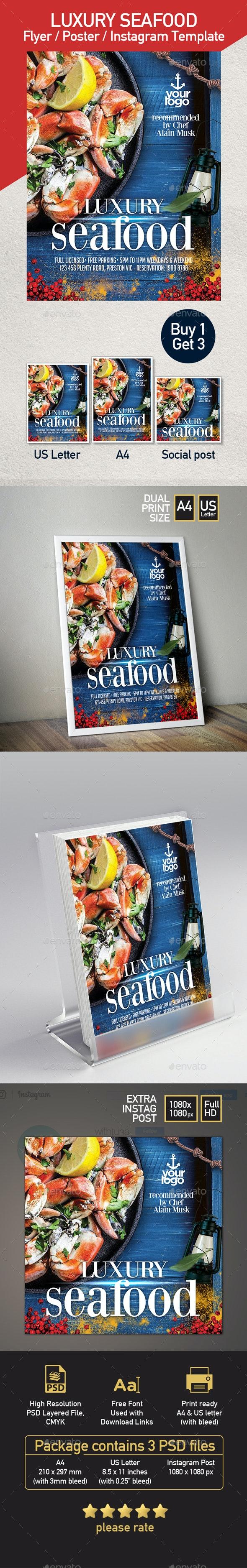Seafood Restaurant - Set of 3 Flyer Templates - Restaurant Flyers