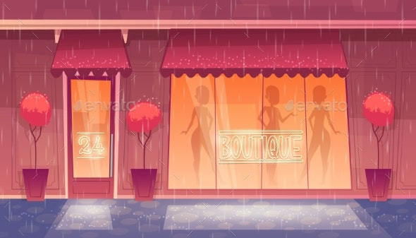 Vector Cartoon Boutique - Buildings Objects