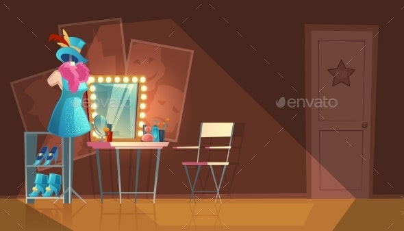 Vector Cartoon Interior of Empty Dressing Room - Backgrounds Decorative