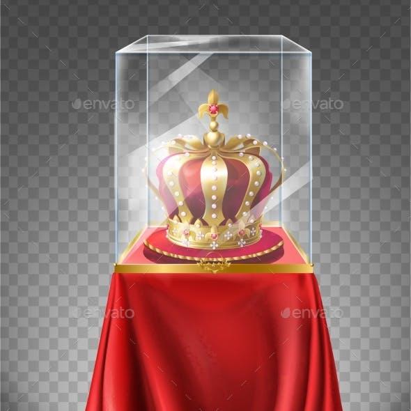Vector Royal Crown in Showcase Museum Exhibit