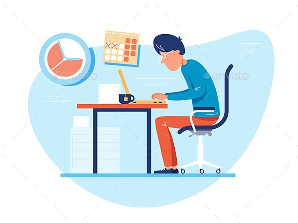 Working Time at Workplace - People Characters