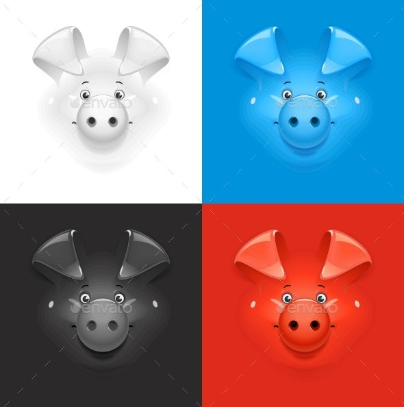 Pig Set on Colour Background - Animals Characters