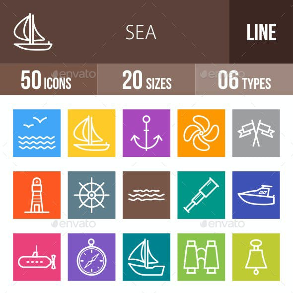 Sea Line Multicolor Icons