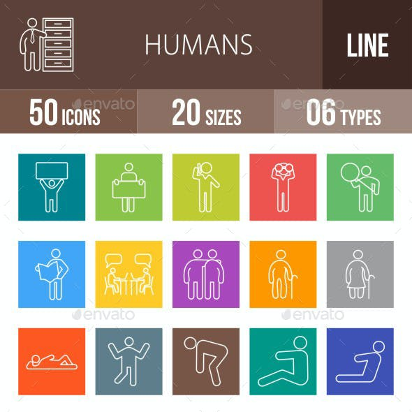 Humans Line Multicolor Icons