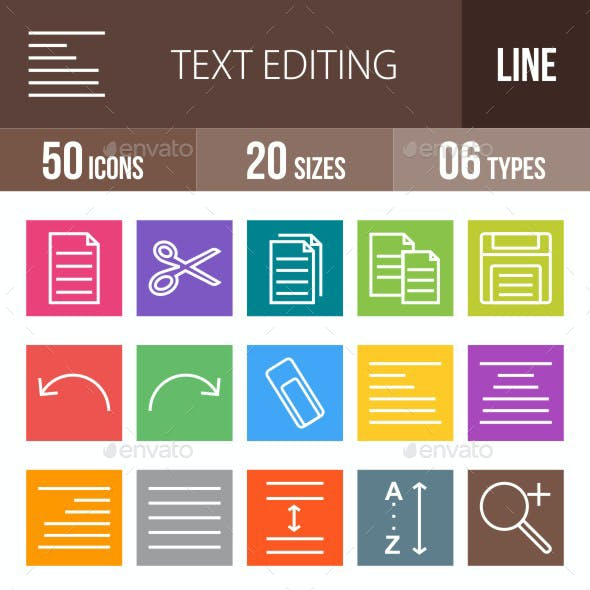 Text Editing Line Multicolor Icons