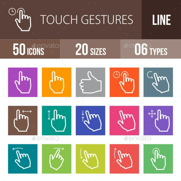Touch Gestures Line Multicolor Icons