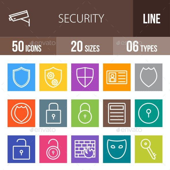 Security Line Multicolor Icons