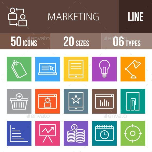 Marketing Line Multicolor Icons