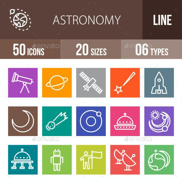 Astronomy Line Multicolor Icons