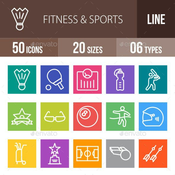 Fitness & Sports Line Multicolor Icons