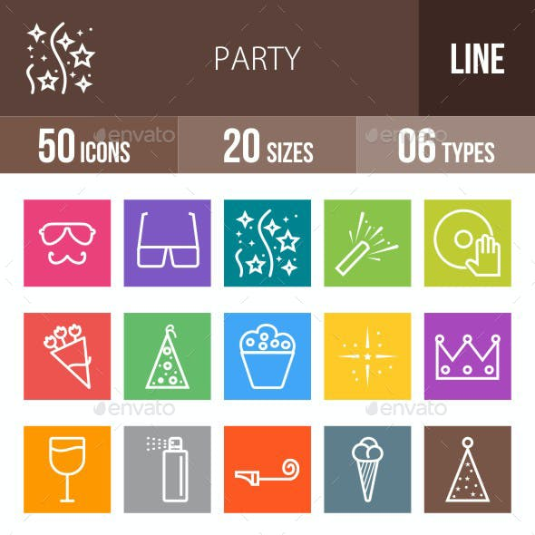 Party Line Multicolor Icons