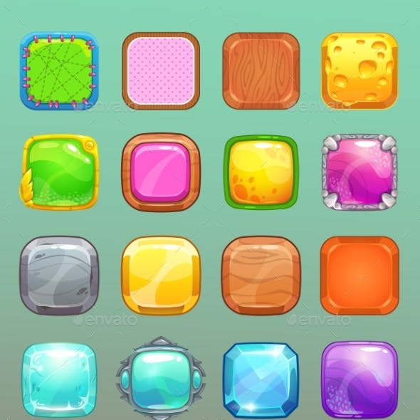 Big Set of Cartoon Colorful Square Buttons