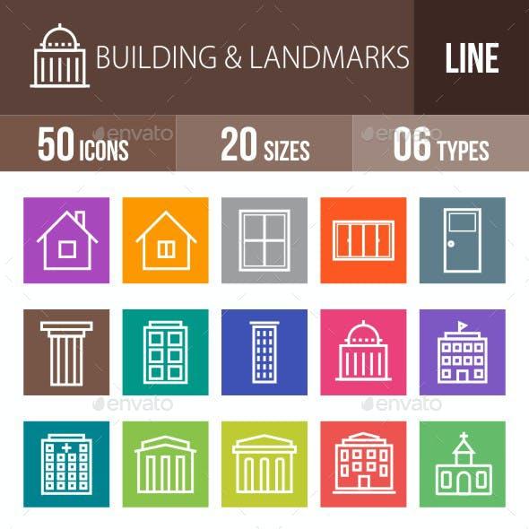 Buildings & Landmarks Line Multicolor Icons