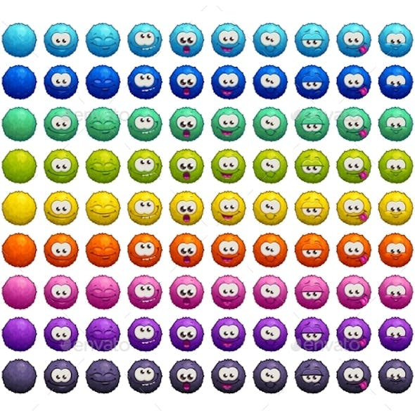 Cartoon Colorful Fluffy Balls Characters