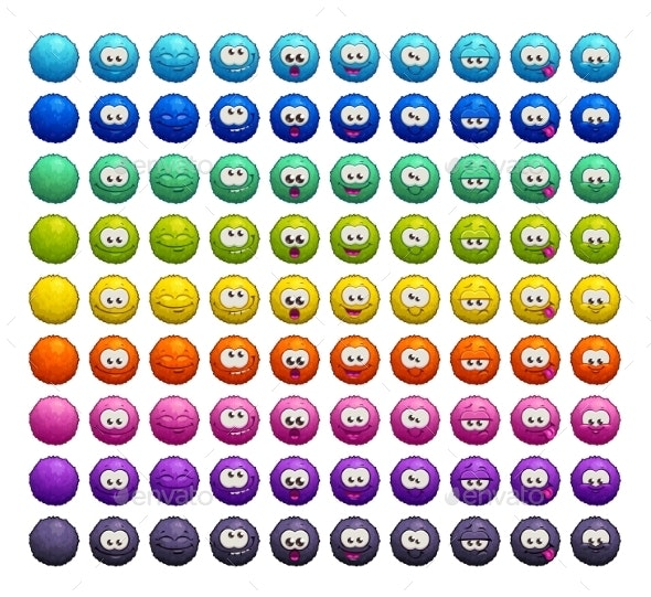 Cartoon Colorful Fluffy Balls Characters - Miscellaneous Characters