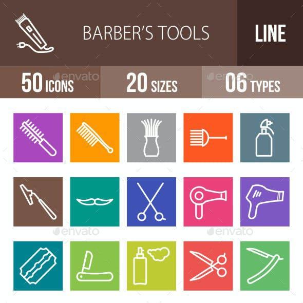 Barber's Tools Line Multicolor Icons