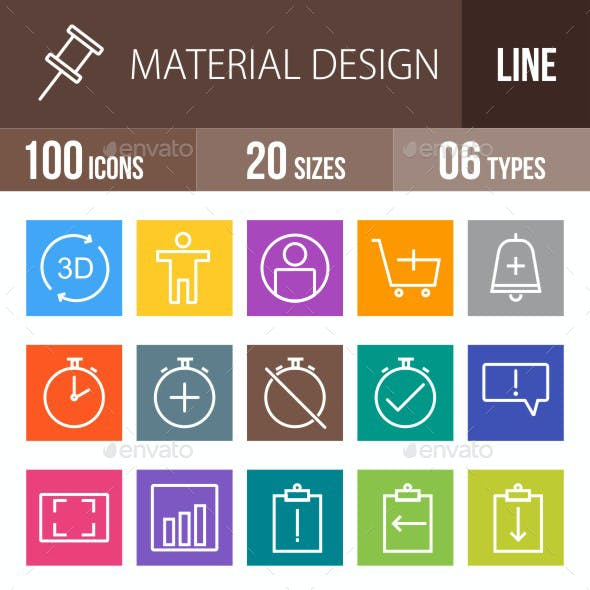 Material Design Line Multicolor Icons