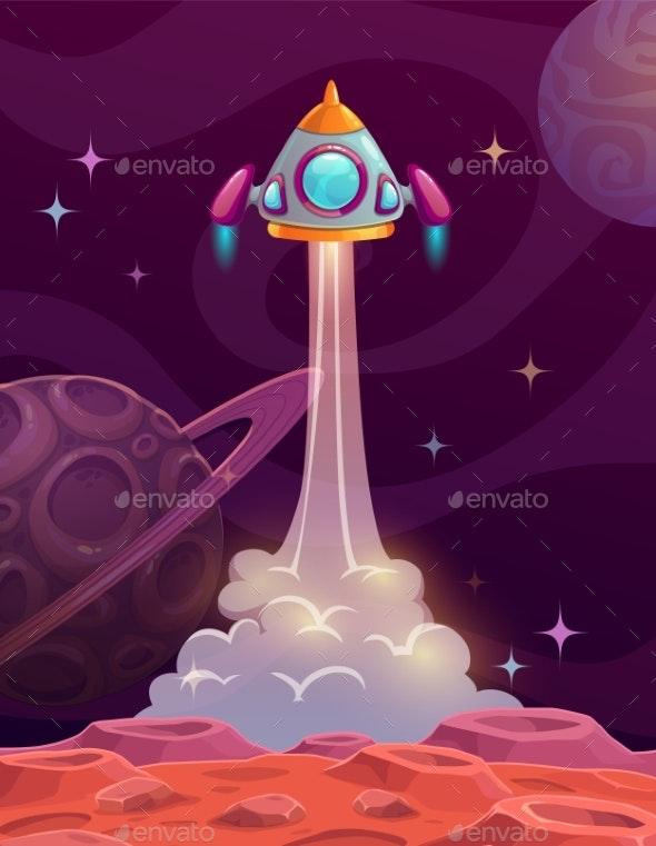 Rocket Launch From Alien Planet - Miscellaneous Vectors