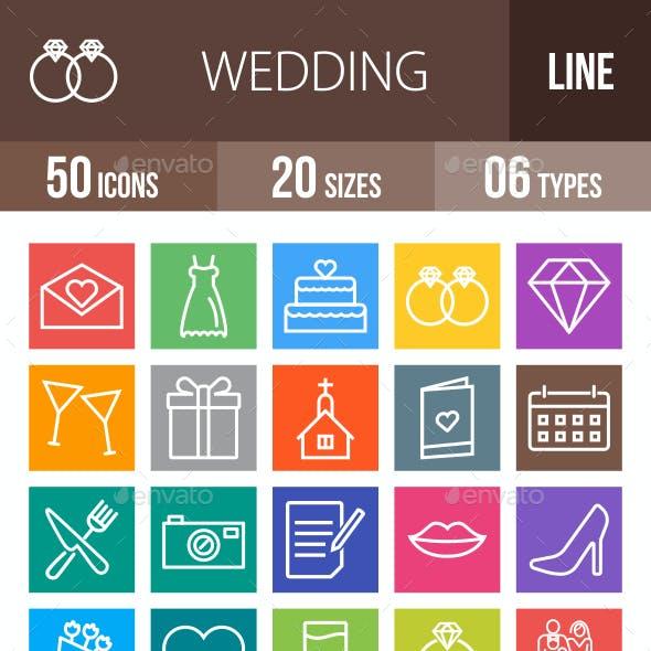 50 Wedding Line Multicolor B/G Icons
