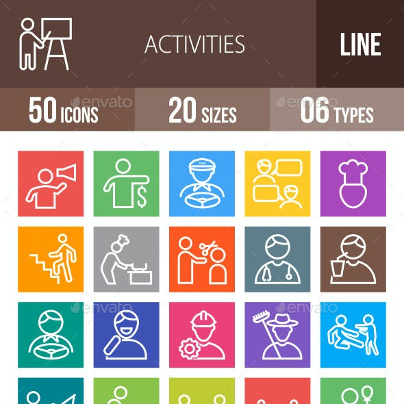 50 Activities Line Multicolor B/G Icons