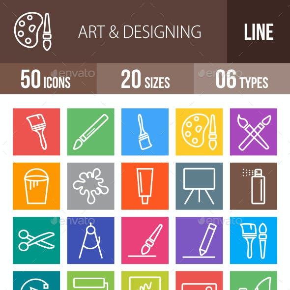 50 Art & Designing Line Multicolor B/G Icons