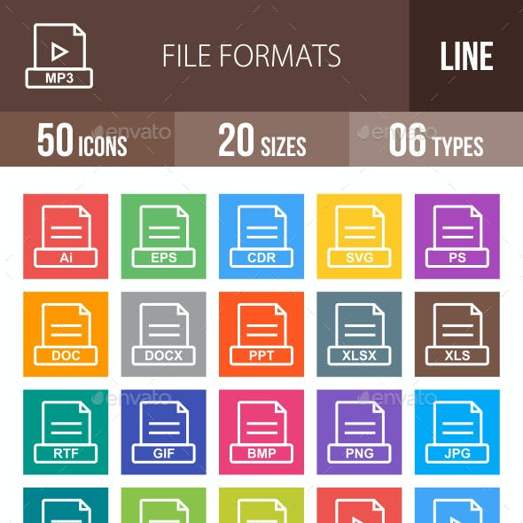50 File Formats Line Multicolor B/G Icons