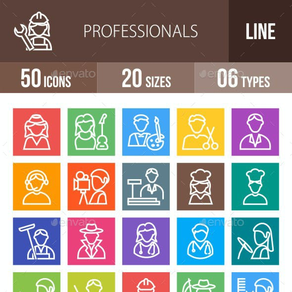 50 Professionals Line Multicolor B/G Icons