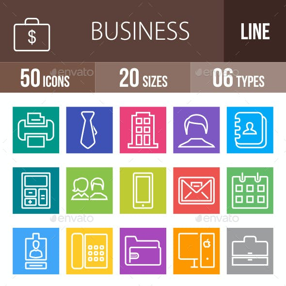 50 Business & Finance Line Multicolor B/G Icons