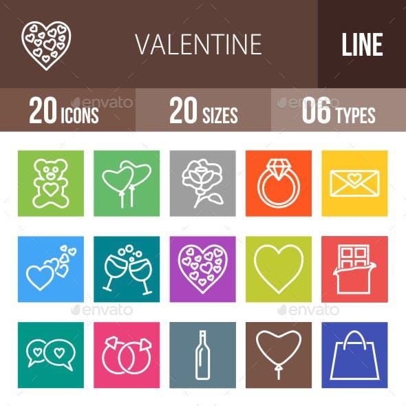 20 Valentine Line Multicolor B/G Icons