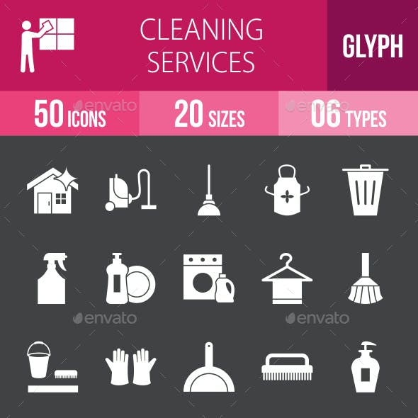 Cleaning Services Glyph Inverted Icons