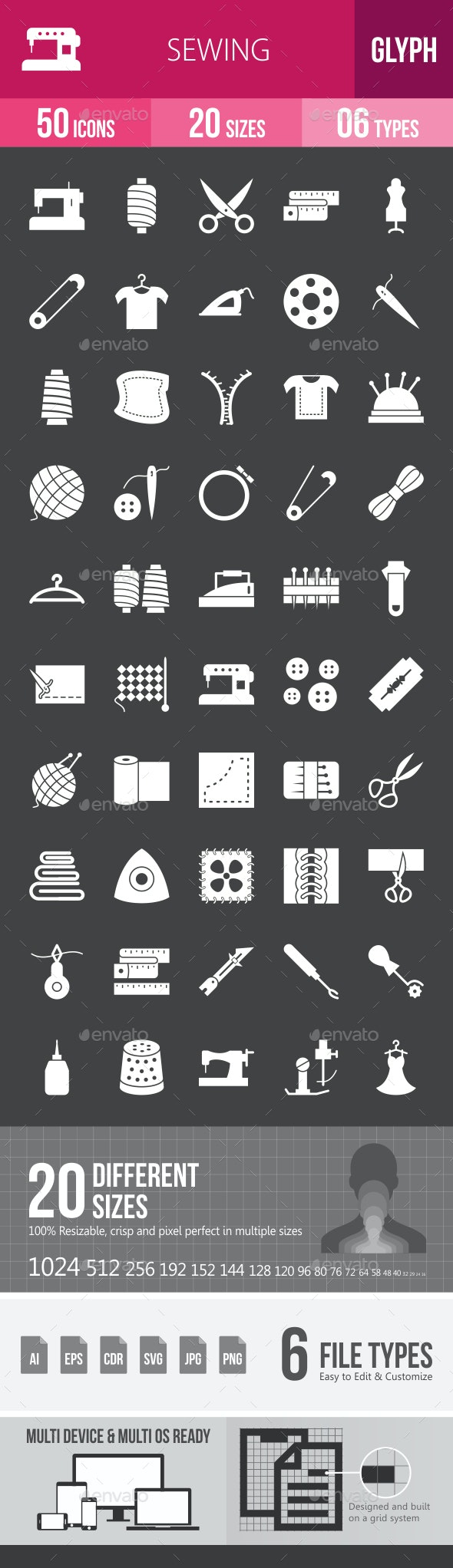 Sewing Glyph Inverted Icons - Icons