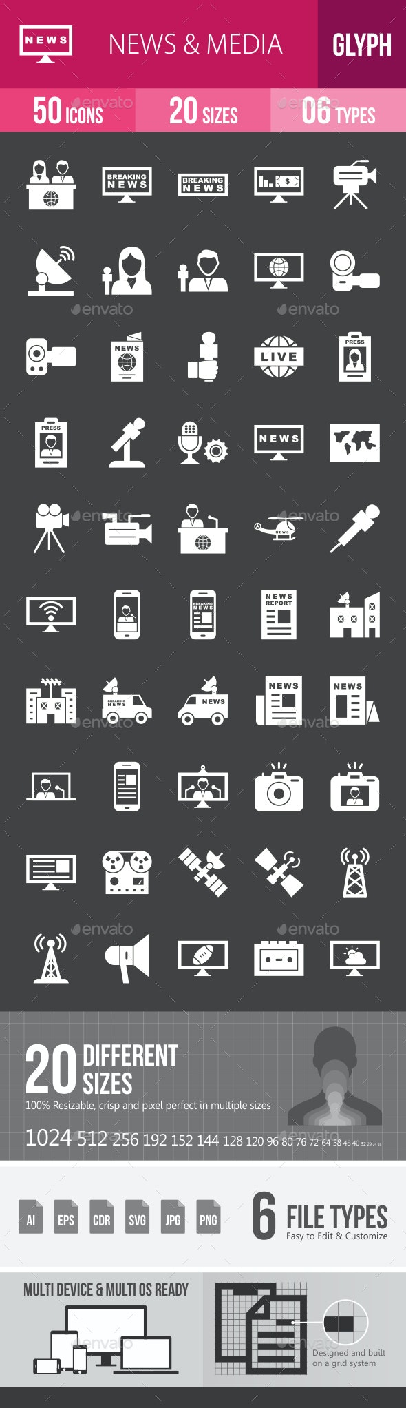 News & Media Glyph Inverted Icons - Icons