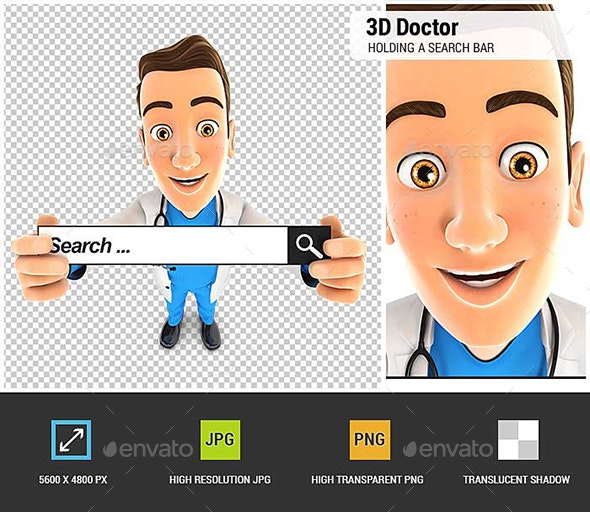 3D Doctor Holding a Search Bar - Characters 3D Renders
