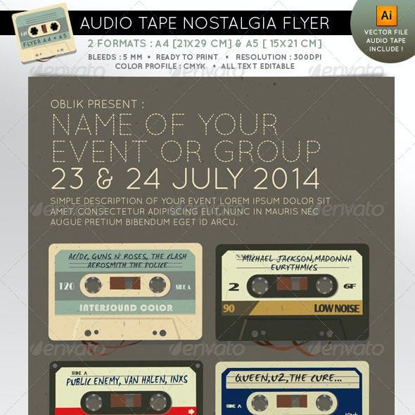 Audio tape nostalgia event flyer A4 A5