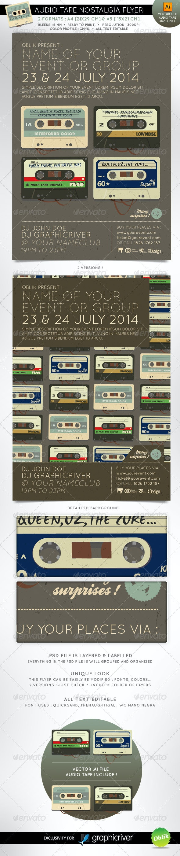 Audio tape nostalgia event flyer A4 A5 - Clubs & Parties Events